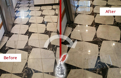 Before and After Picture of a Dull Harrison Marble Stone Floor Polished To Recover Its Luster