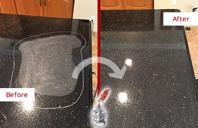 Before and After Picture of a Harrison Granite Stone Countertop Polished to Remove Scratches