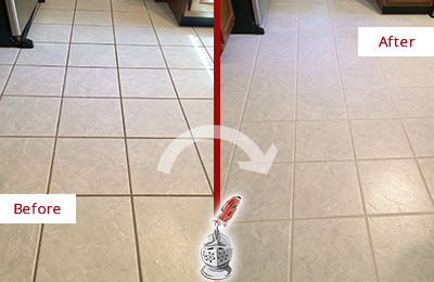 Before and After Picture of a Katonah Kitchen Ceramic Floor Sealed to Protect From Dirt and Spills