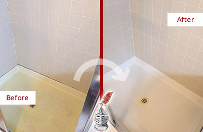 Before and After Picture of a Katonah Shower Sealed to Remove and Protect Against Mold