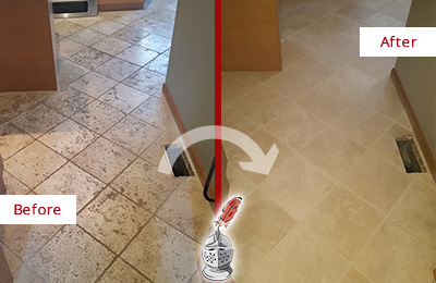 Before and After Picture of a Verplanck Kitchen Marble Floor Cleaned to Remove Embedded Dirt