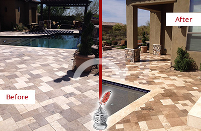 Before and After Picture of a Dull Verplanck Travertine Pool Deck Cleaned to Recover Its Original Colors