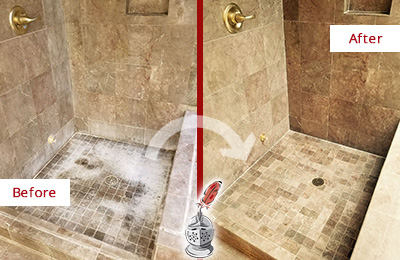 Before and After Picture of a Verplanck Travertine Shower Cleaned to Eliminate Water Spots