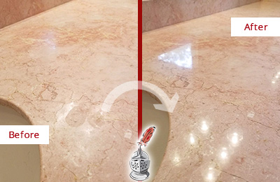 Before and After Picture of a Eastchester Marble Stone Vanity Top Sealed to Avoid Water Marks
