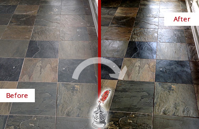 Before and After Picture of a Purchase Slate Stone Floor Sealed to Eliminate Dullness