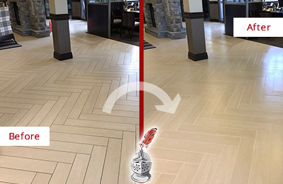 Before and After Picture of a Tuckahoe Hard Surface Restoration Service on an Office Lobby Tile Floor to Remove Embedded Dirt