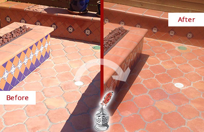 Before and After Picture of a Tuckahoe Hard Surface Restoration Service on a Dull Terracotta Patio Floor to Recover Its Color