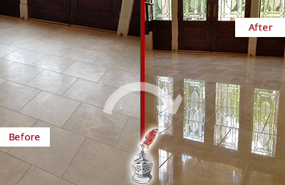 Before and After Picture of a Dobbs Ferry Hard Surface Restoration Service on a Dull Travertine Floor Polished to Recover Its Splendor