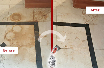Before and After Picture of a White Plains Hard Surface Restoration Service on a Marble Floor to Eliminate Rust Stains