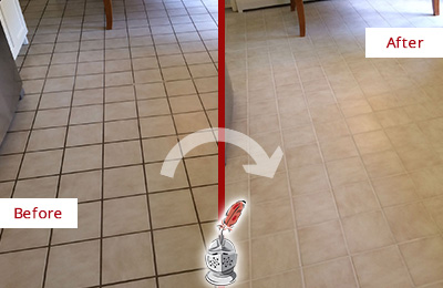 Before and After Picture of a Millwood Kitchen Tile Floor with Recolored Grout