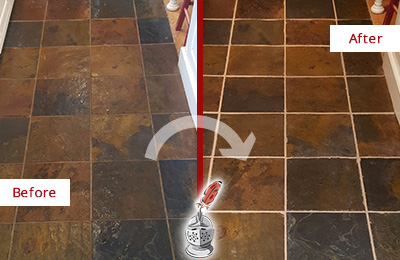 Before and After Picture of a Millwood Slate Floor Recolored Grout