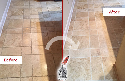Before and After Picture of a Millwood Travertine Kitchen Floor Recolored Grout