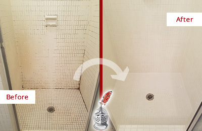 Before and After Picture of a Jefferson Valley Bathroom Grout Sealed to Remove Mold