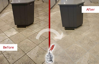 Before and After Picture of a Jefferson Valley Kitchen Floor Grout Sealed to Remove Stains