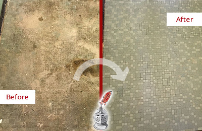 Before and After Picture of a Armonk Mosaic Shower Cleaned to Eliminate Embedded Dirt