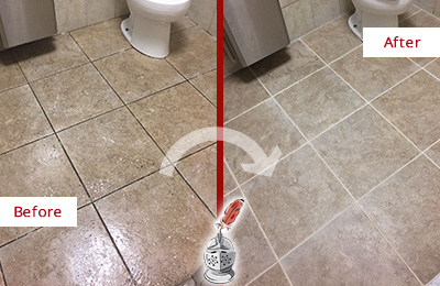 Before and After Picture of a Hawthorne Restroom Floor Cleaned to Eliminate Dirt