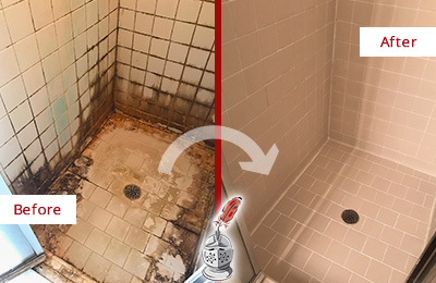 Before and After Picture of a Hawthorne Ceramic Shower Cleaned to Remove Grime